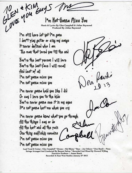 Glen Campbell_I'm Not Gonna Miss You_Lyrics_Signed_from CMHOF+M.jpg