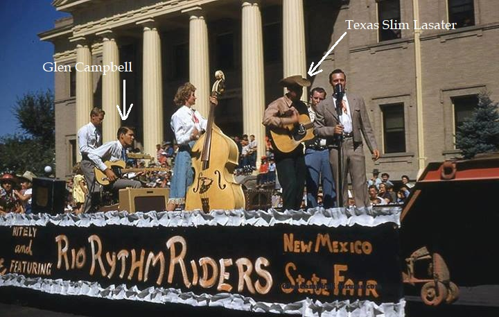 Glen with Texas Slim and the Rio Rhythm Riders at the State Fair Parade in Albuquerque, 1952.jpg